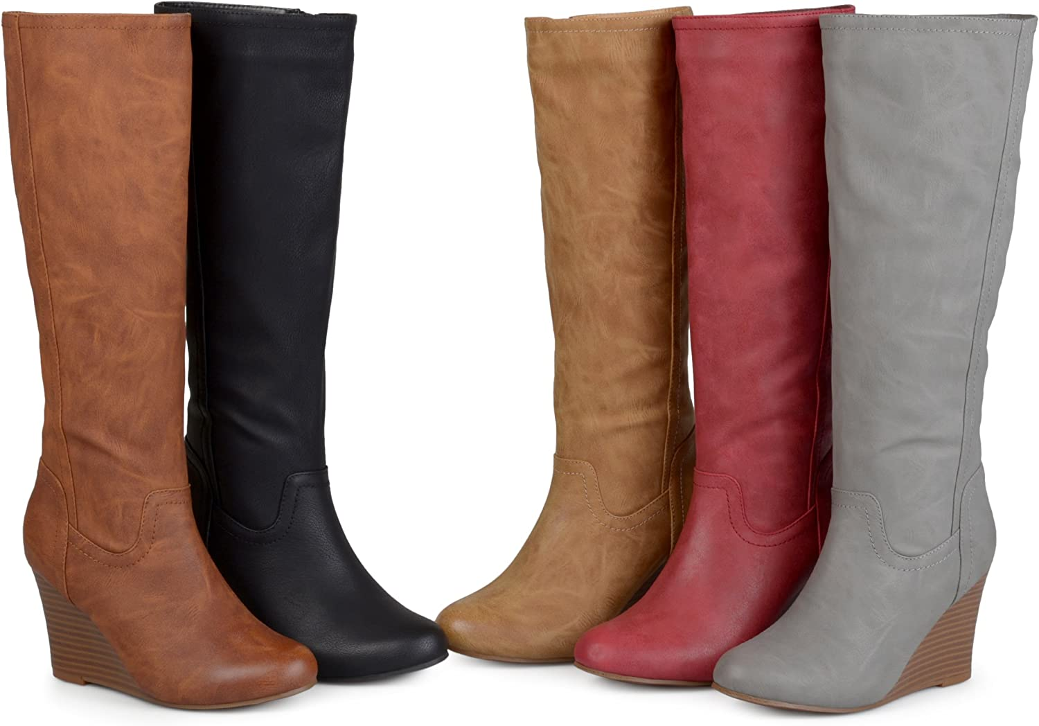 7 Regular US Womens Regular and Wide Calf Round Toe Faux Leather Mid-Calf Wedge Boots Red Brinley Co