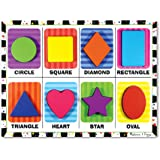 Melissa & Doug Shapes Chunky Puzzle (Preschool, Chunky Wooden Pieces, Full-Color Pictures, 8 Pieces, Great Gift for…
