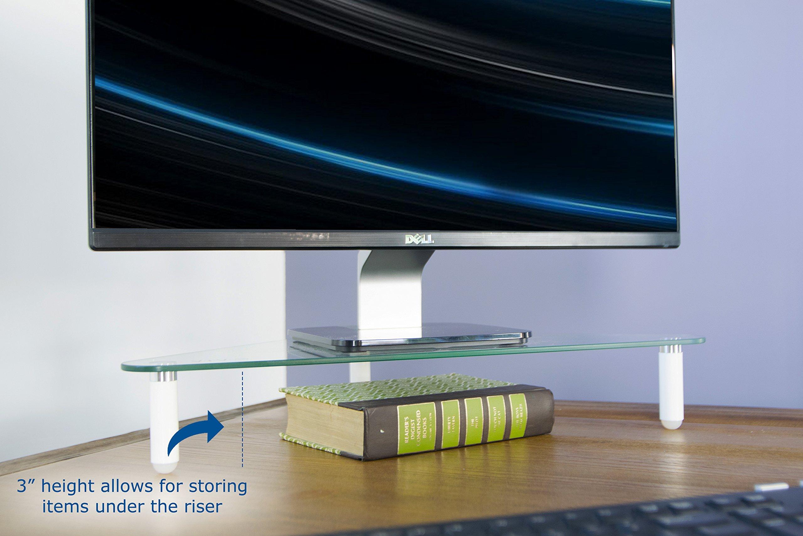 VIVO Glass Ergonomic Tabletop Riser | Triangle Desktop Universal Corner Stand for Computer Monitor & Laptop (STAND-V000Q) by VIVO (Image #5)