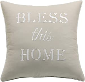 YugTex Bless This Home 18x18 Embroidered Decorative Square Accent Throw Pillow Cover - Natural