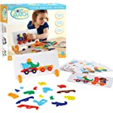 Guidecraft Animal Train Sort and Match - 40 pieces Color and Shapes Matching Game for Children - Kids Early Learning and Development Toy