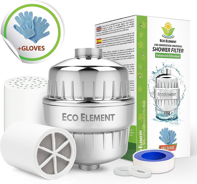 Eco Element 2nd Generacion Filtro de ducha mejorado. Elimina cloro ...