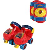 PlayWheels Spider-Man Roller Skates with Knee Pads, Junior Size 6-12