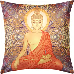 Hippie Sitting Buddha Vintage Pillow Cases Decorative Throw Pillow Covers Luxury Pillow Case for Sofa Home Couch Car Bedroom Decor Invisible Zipper Square 18x18inch