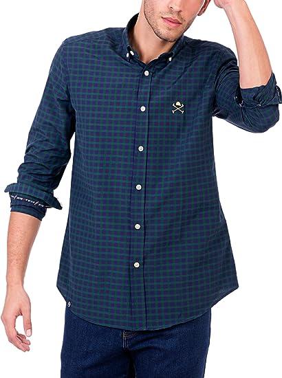 POLO CLUB Camisa Hombre Maverick Academy Azul Marino/Verde L ...