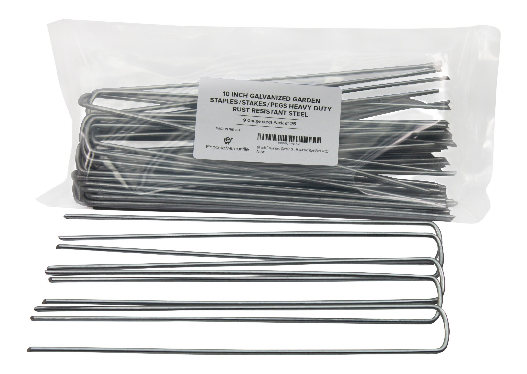 Pinnacle Mercantile 10 Inch Galvanized Garden Staples/Stakes/Pegs Heavy Duty Rust Resistant Steel Pack of 25 by Pinnacle Mercantile