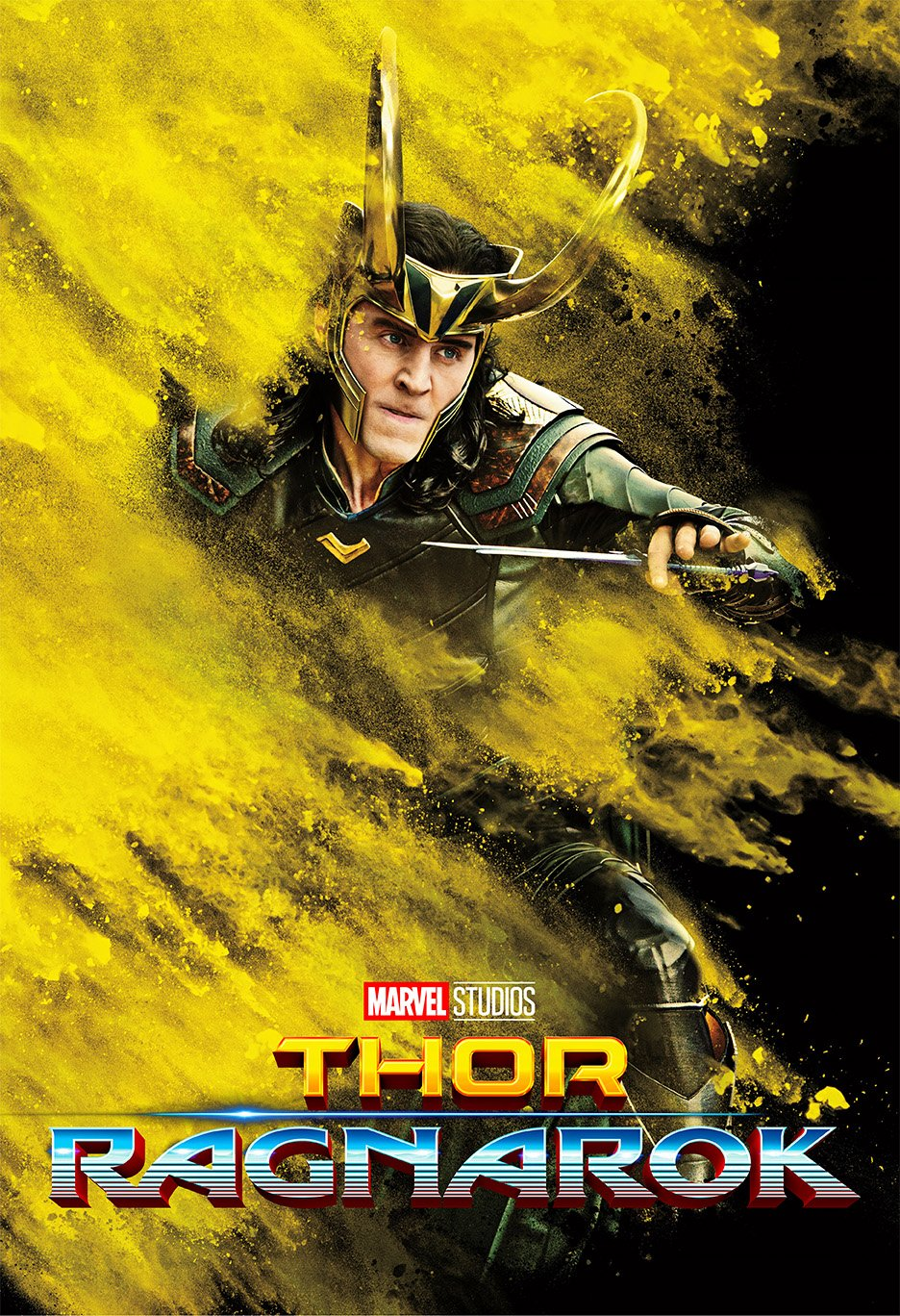 Thor 3 : Ragnarok (2017) - Loki - 13 in x 19 in Movie Poster Flyer BORDERLESS + Free 1 Tile Magnet