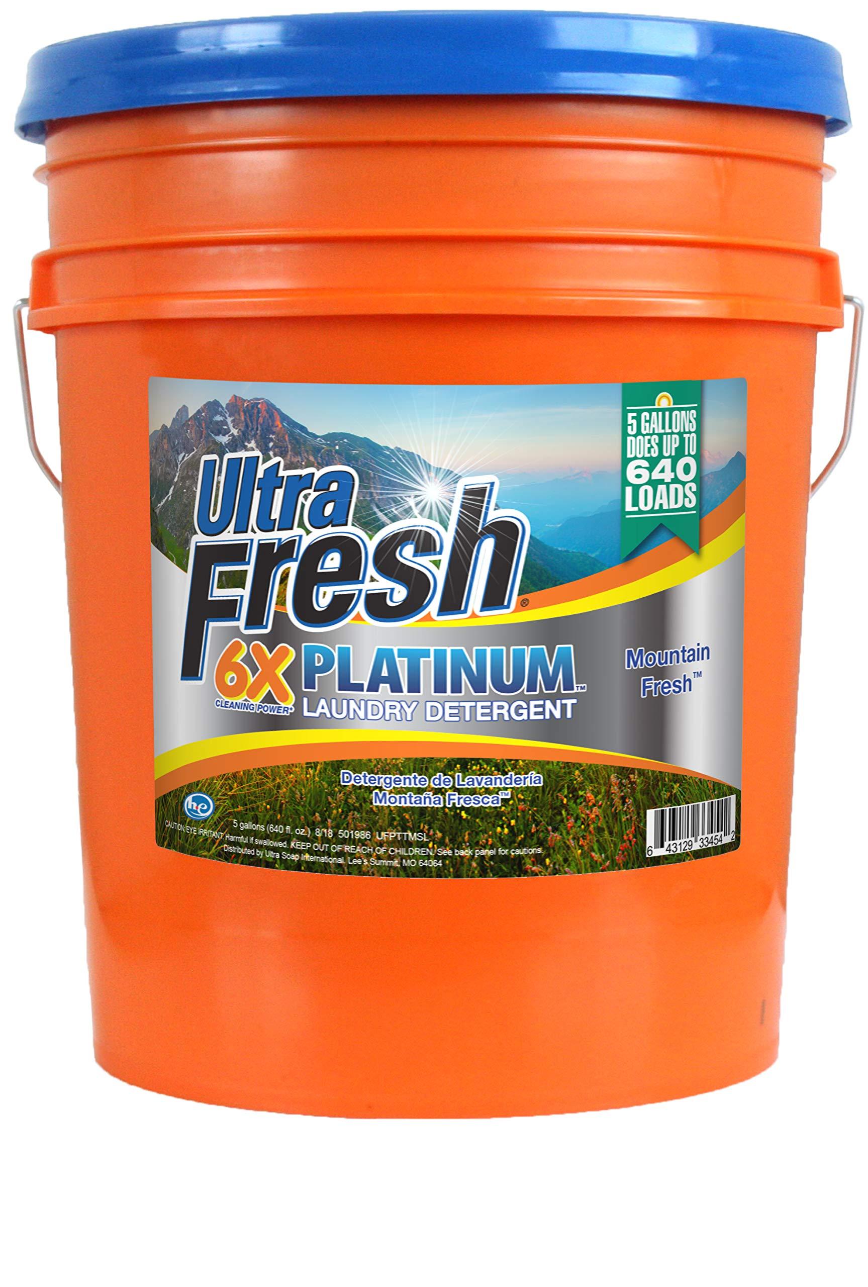 Ultra Fresh UFPTTMSL Platinum Mountain Fresh Laundry Detergent, 5 gal, 640 oz.