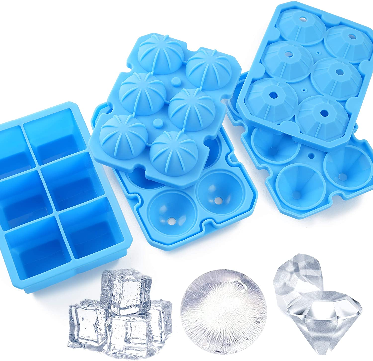 Ice Cube Trays, Meidong 3 Pack Food-Grade Silicone Ice Cube Trays Round Big Ice Balls Square Diamond Ice Cube Trays, Reusable and Easy Release Reusable for Chilling Whiskey Wine Cocktail