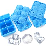 Ice Cube Trays, Meidong 3 Pack Food-Grade Silicone Ice Cube Trays Round Big Ice Balls Square Diamond Ice Cube Trays…