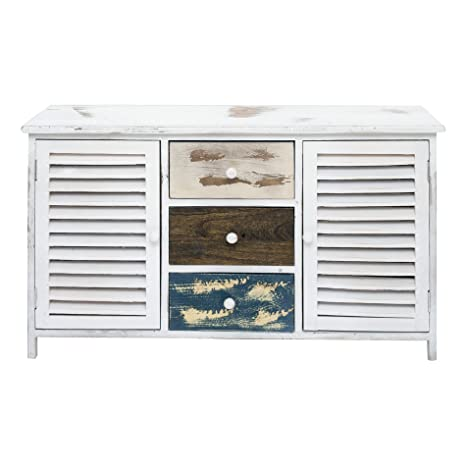 Foto Mobili Shabby Chic.Rebecca Mobili Bench Seat Storage Unit 3 Drawers 2 Doors White Grey