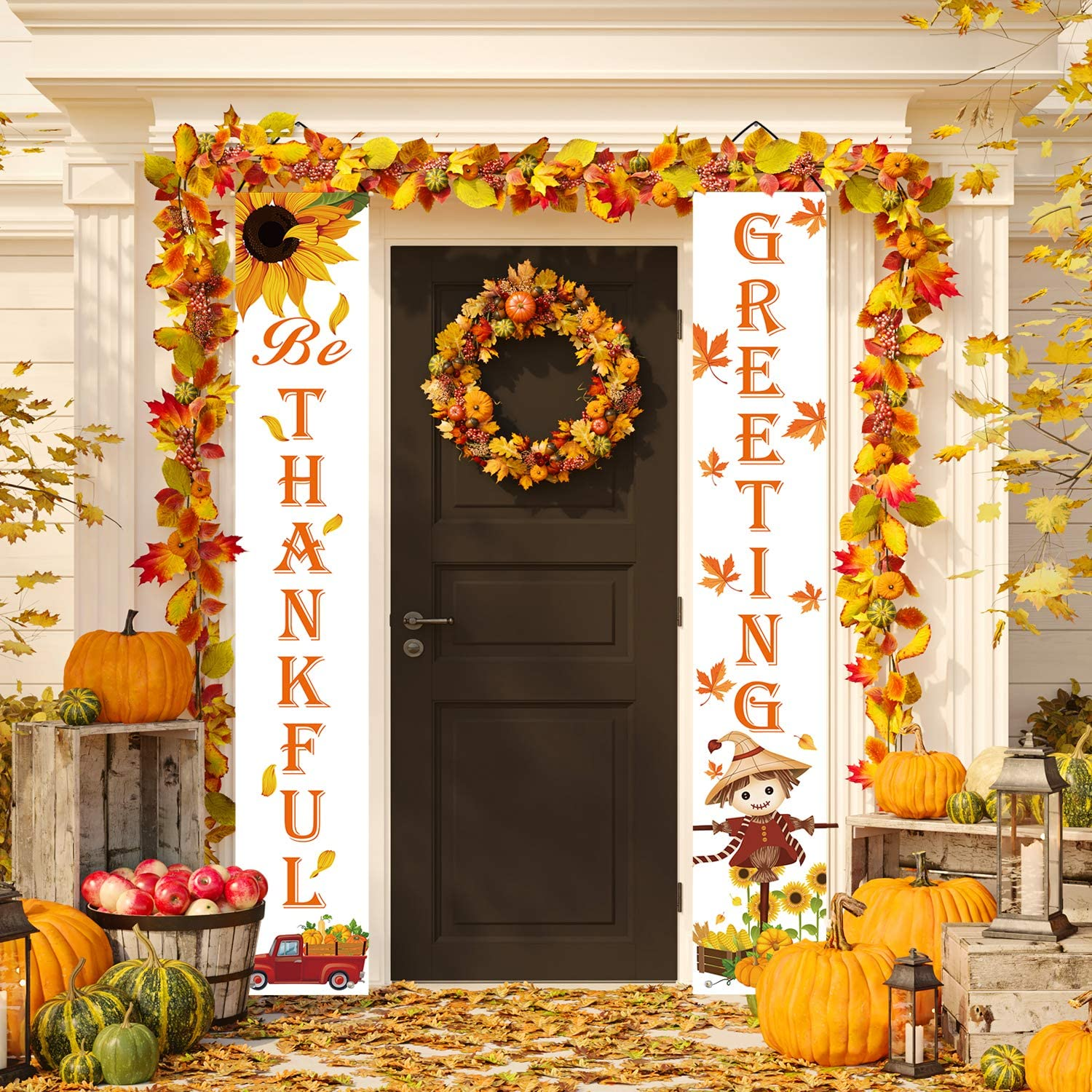 Whaline Fall Greeting Porch Sign Be Thankful Hanging Banner Pumpkin Maple Leaf Sunflower Backdrop Flag For Home Yard Indoor Outdoor Wall Door Thanksgiving Party Decorations 12 X 72 Inch