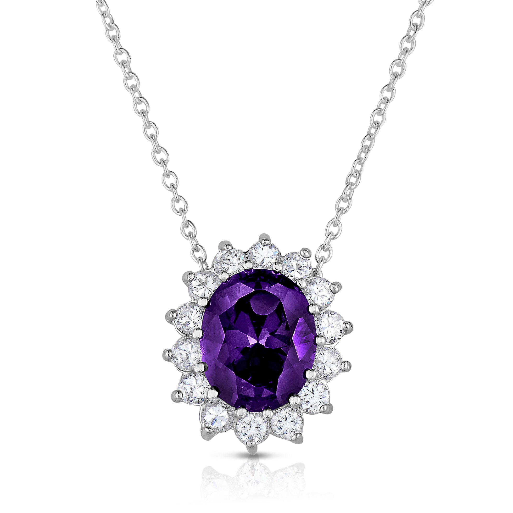 Sterling Silver Purple Amethyst CZ with White CZ Helo Jacket Princess Diana Kate Middleton Necklace and Pendant - 18''