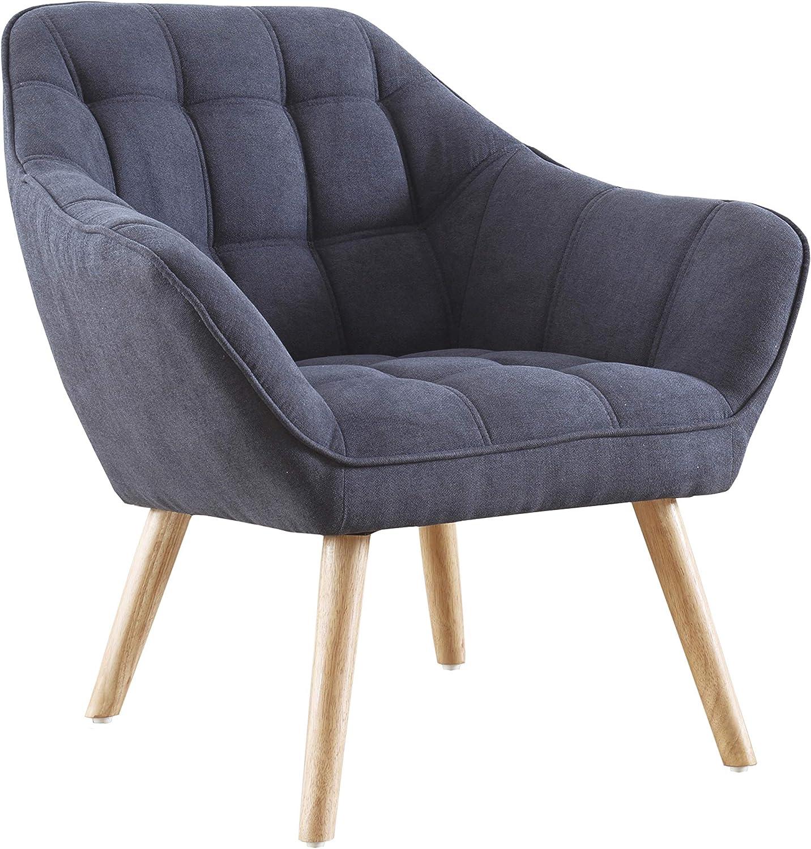 Adec - Olden, Sofa Individual de una Plaza, Sillon Descanso una 1 Persona, butaca acabada en Tejido Color Gris, Patas de Madera Color Haya, Medidas: 83 cm (Largo) x 75 cm (Ancho) x 77 cm (Alto)
