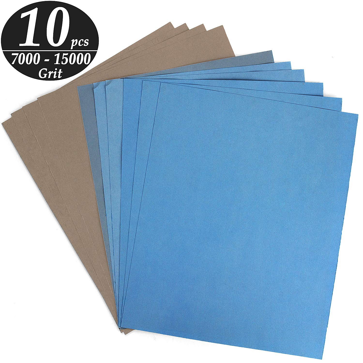 ADVcer 9x11 inch 10 Sheets Sandpaper, Wet or Dry 7000-15000 Grit 5 Assortment Sand Paper, Super Fine Precision Abrasive Pads for Automotive Sanding, Wood Turing Finishing, Metal Furniture Polishing by ADVcer