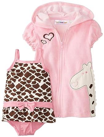 4278fa6a7d0dd Amazon.com: Wippette Baby-Girls Newborn Giraffe Swim Cover-up Set ...