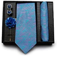 Axlon Combo of Men's Polyester Necktie, Pocket Square, Lapel Pin and Cufflinks (Multicolour)