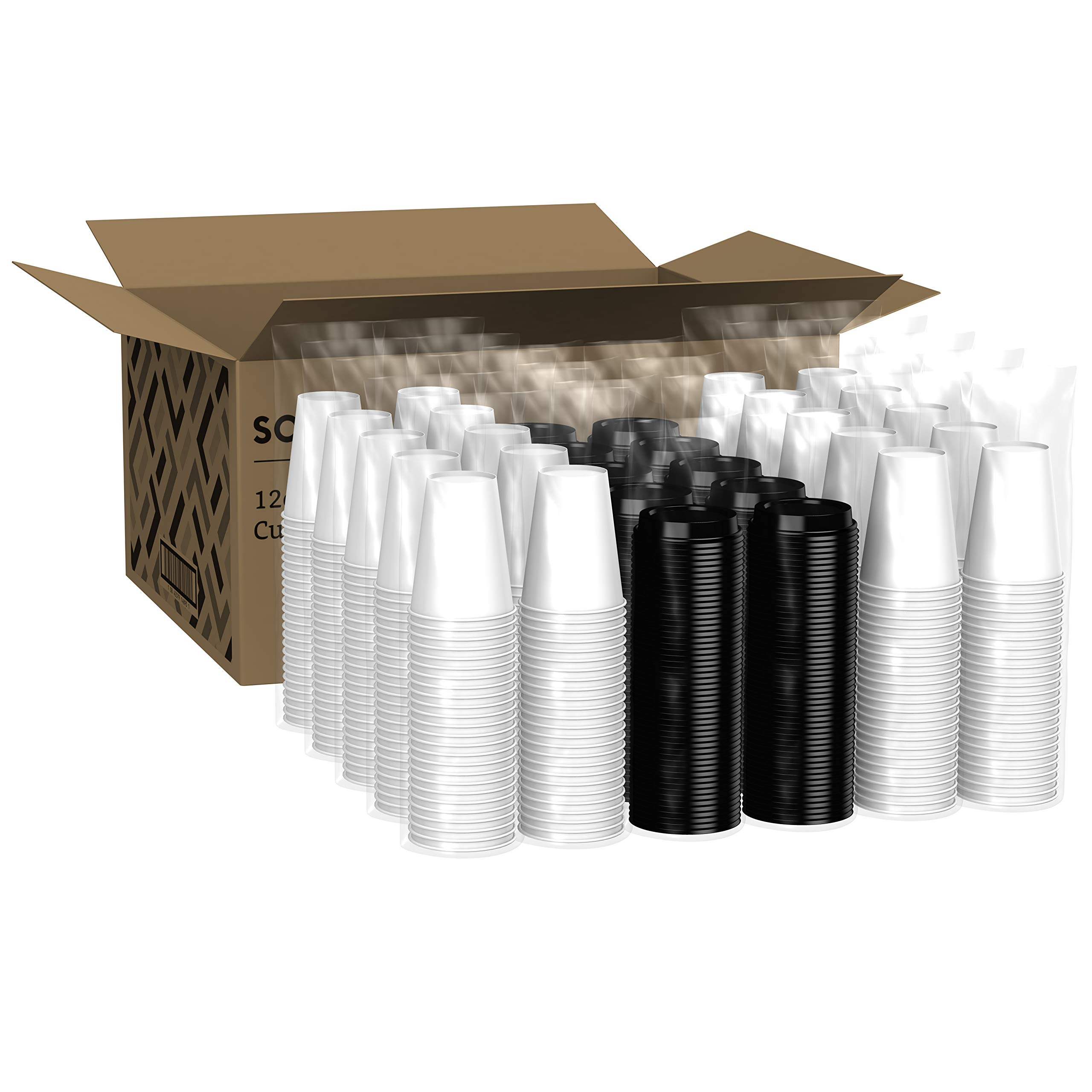 Amazon Brand - Solimo 12oz Paper Hot Cup with Lid, 500 Count by Solimo (Image #3)
