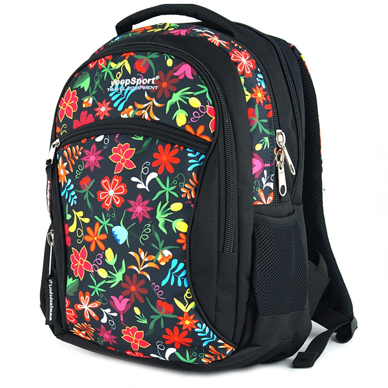 Flowers Red YeepSport School Backpack, black Camo Wood (Green)  S94dx93