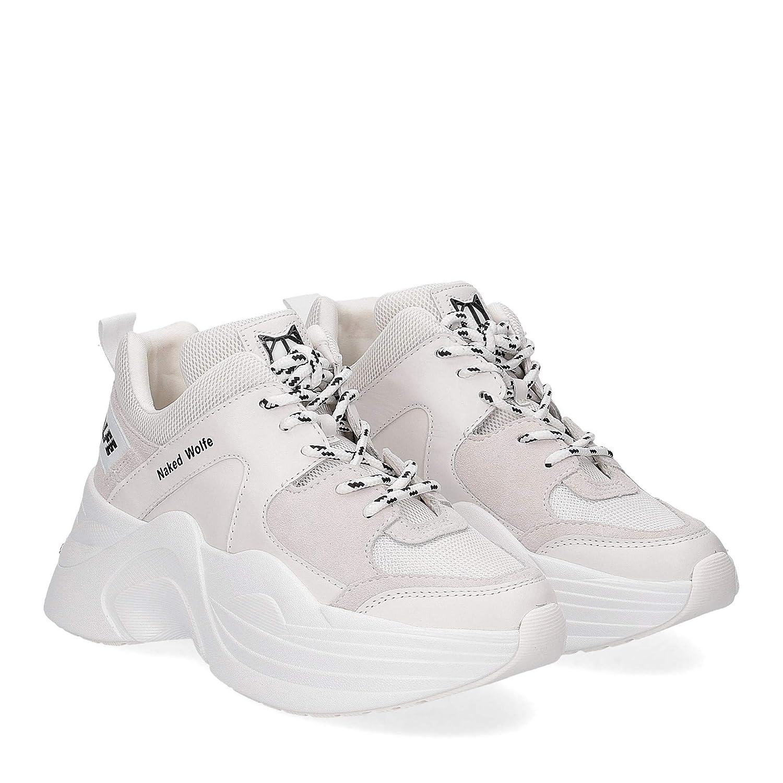 NAKED WOLFE Flache Schuhe für Damen mit Plattform Track Weiß Weiß Track Combo 1a8b01