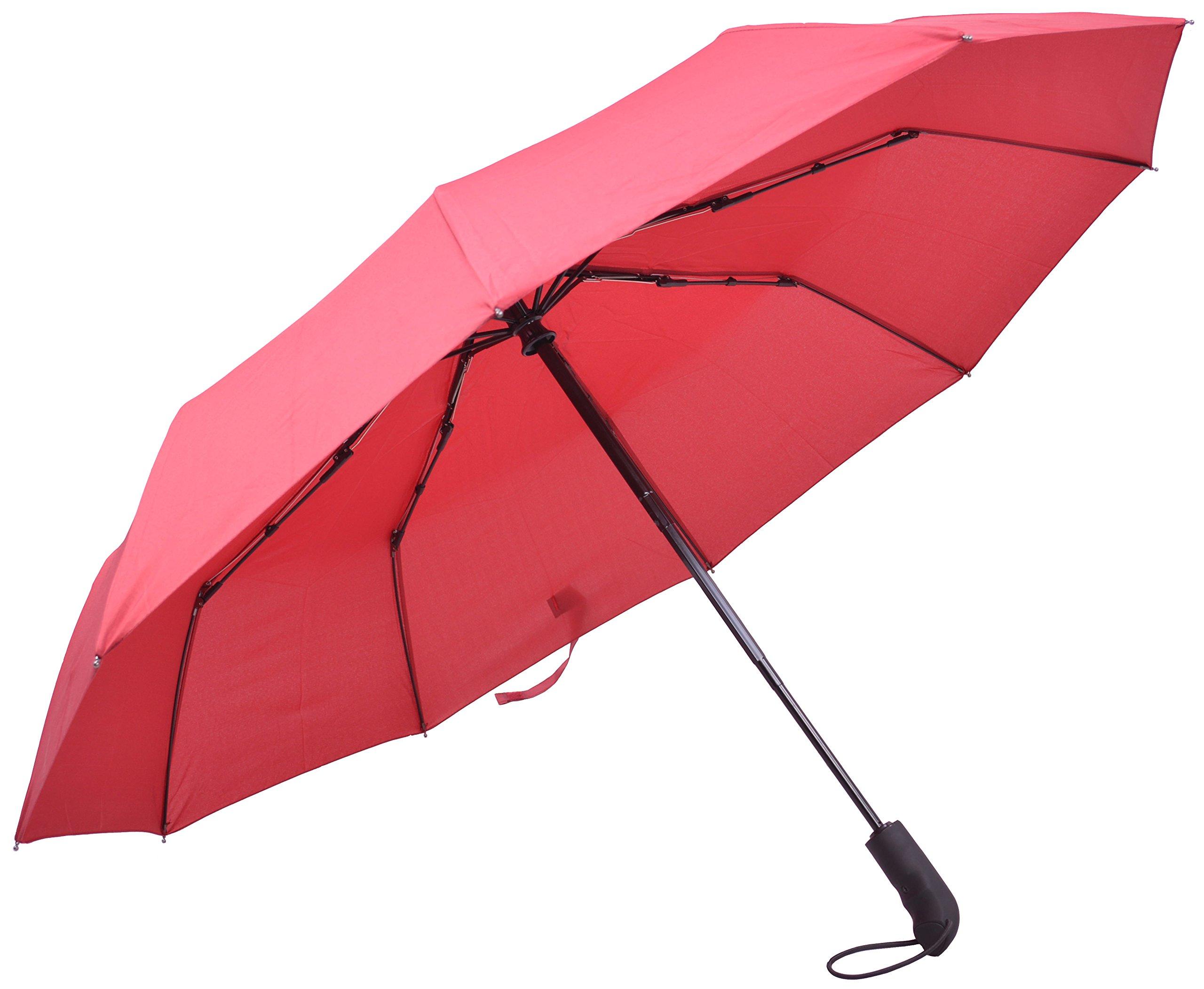 TONBIONVIS Windproof Travel Compact Umbrella (Red)
