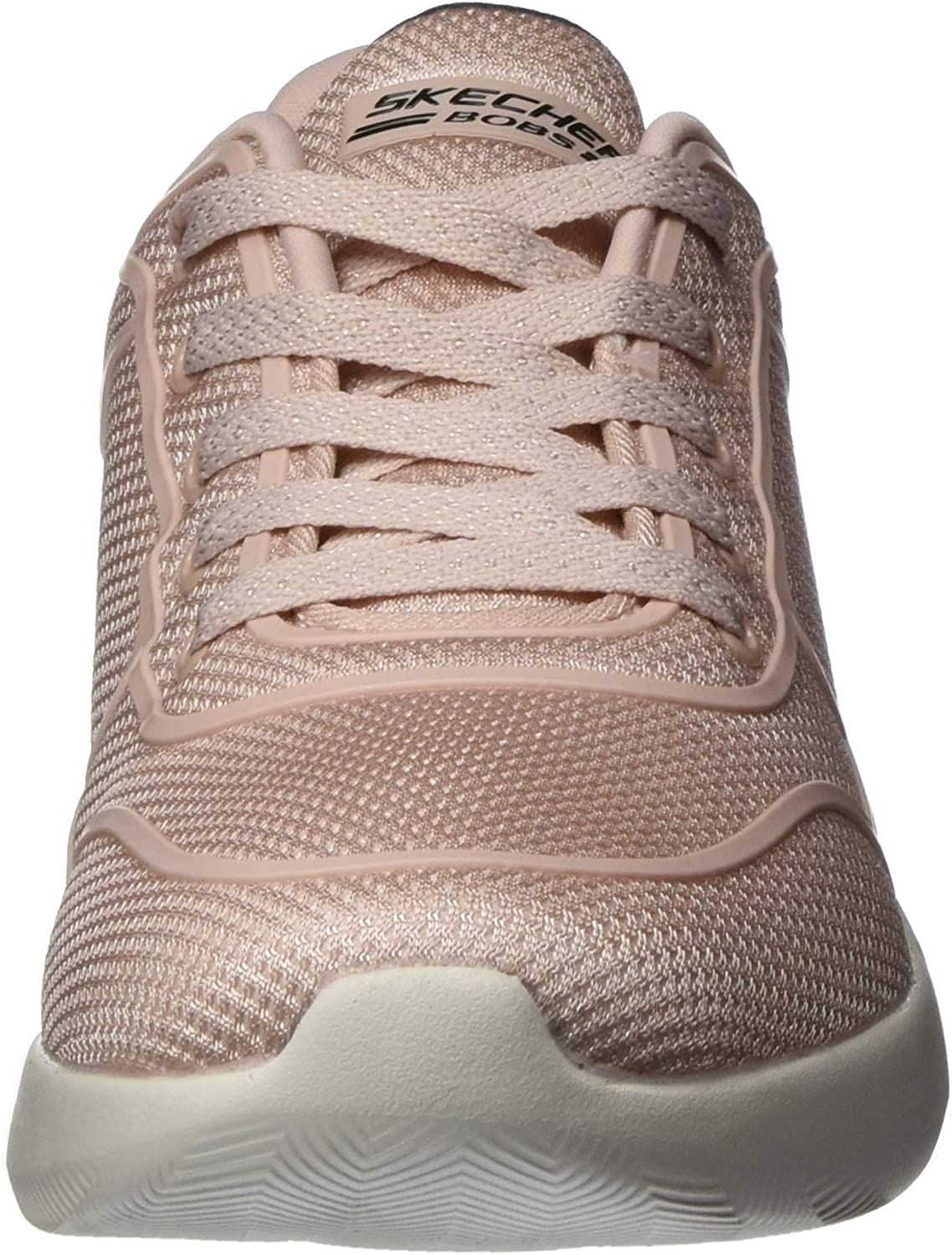 Skechers Bobs Squad 2, Sneaker Donna Rosa Blush Engineered Knit Black Trim Blush