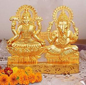 Maithil Art 4 inch Hindu God Lakshmi Ganesha Metal Figurine Statue Idol murti Set for Home Indian Diwali Festival Pooja puja Decor.Indian Gift Items