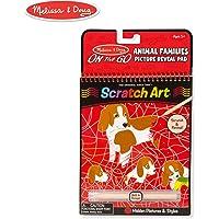 Melissa & Doug On the Go Scratch Art: Animal Families - Bloc de actividades con lápiz capacitivo
