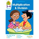 School Zone - Multiplication & Division Workbook - 32 Pages, Ages 8 to 10, 3rd Grade, 4th Grade, Estimation, Word Problems, a