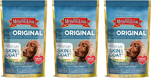 Missing Link Ultimate Skin and Coat Dog Supplement, 1 Pound each Pack of 3