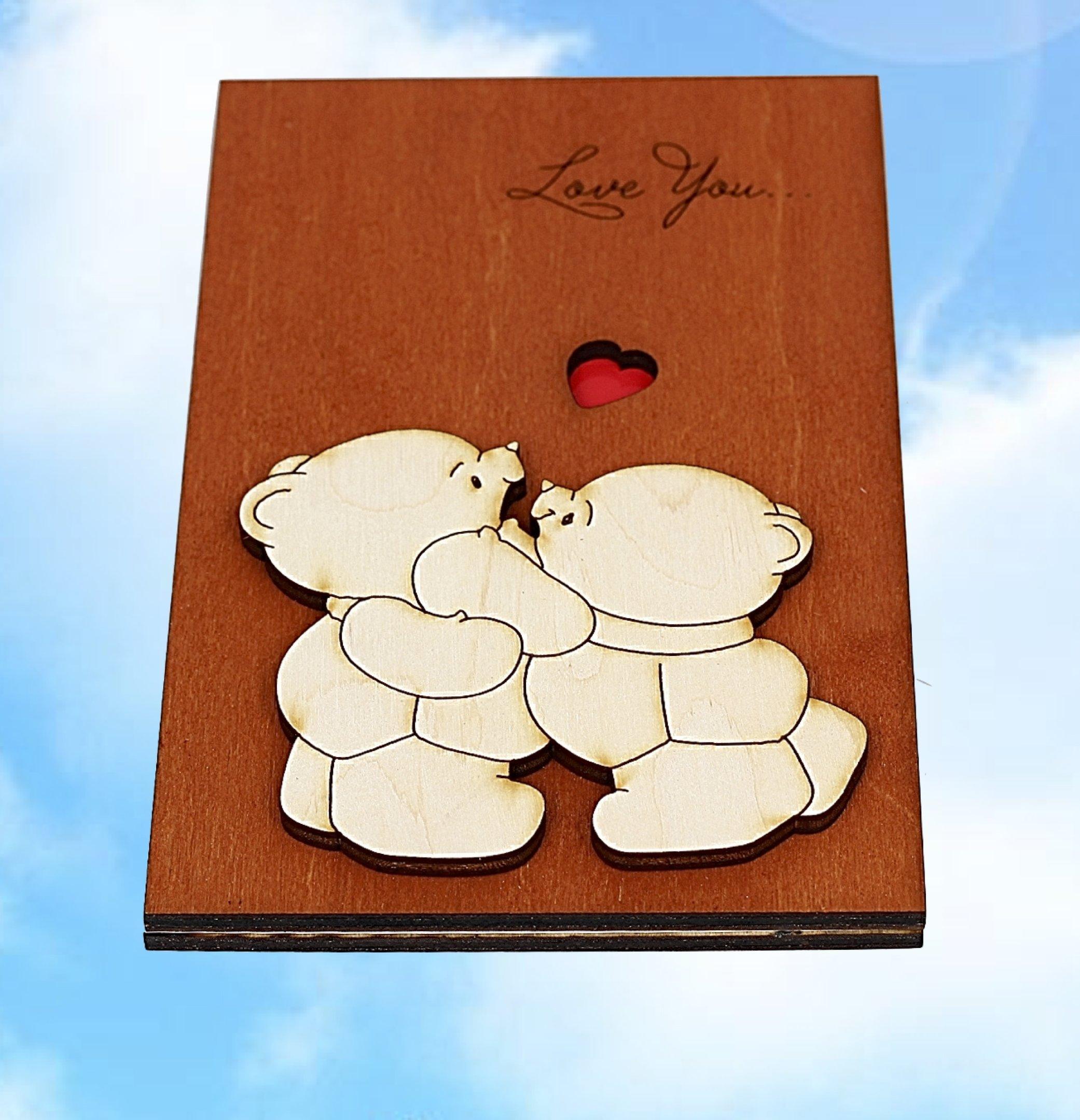 Handmade Real Wood Cute Love You Teddy Bears Funny Novelty Birthday