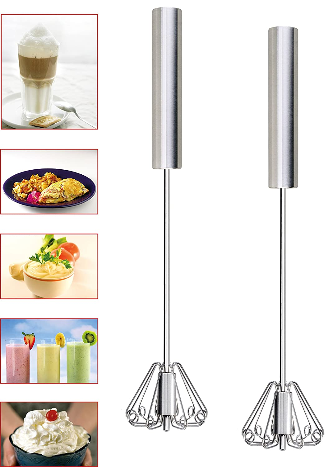Cooks Innovations Rotary Hand Push Zip Whisk Stainless Steel 35.5 cm long
