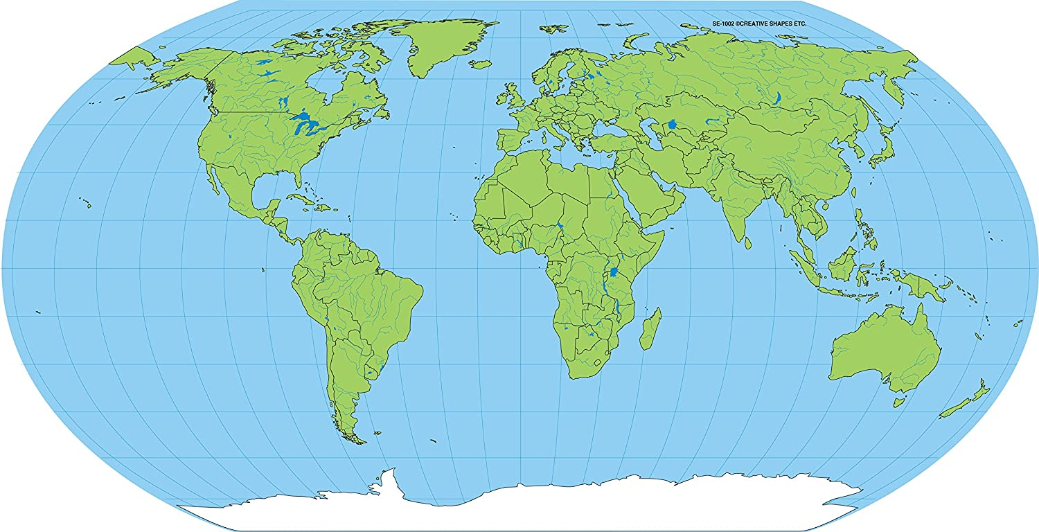 """8"""" x 16"""" Unlabeled World Practice Map, 30 Sheets in a Pack for Social  Studies, Geography, Map Activities, Drill and Practice, Current Event ..."""