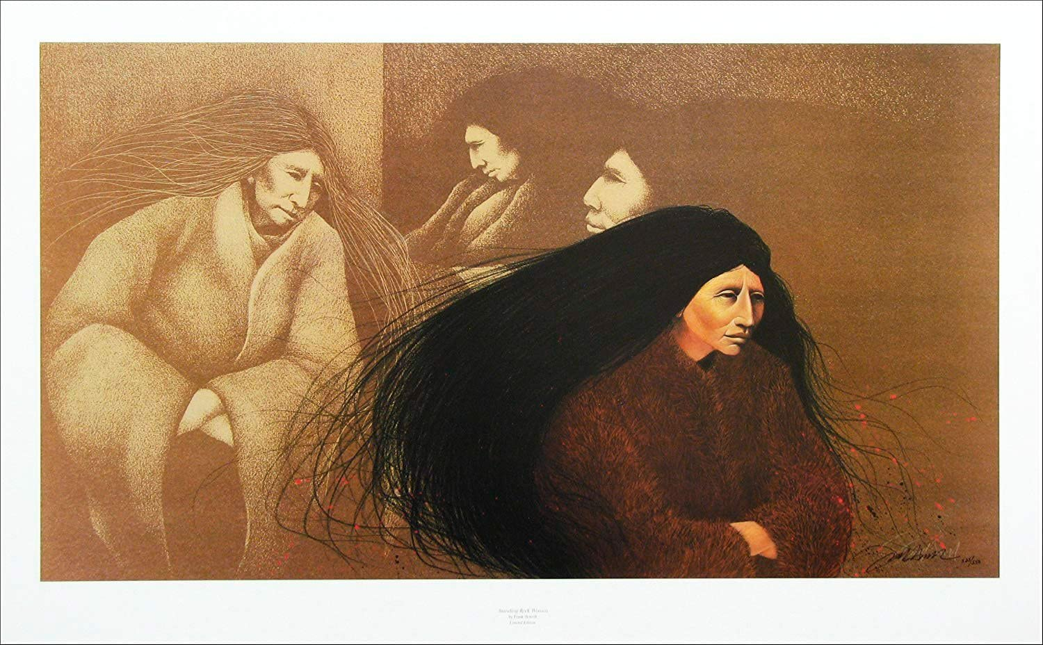 Native American Indian Teenager Hand Signed Lithograph Art