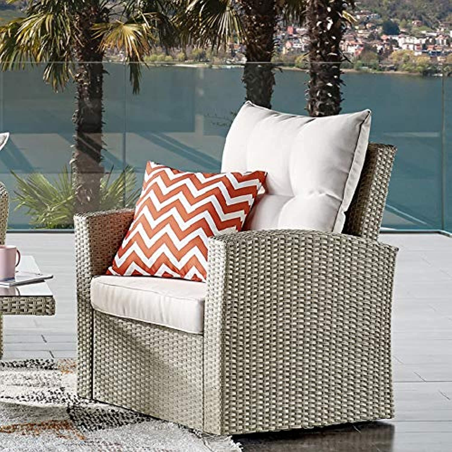 Bolton Furniture Canaan All-Weather Wicker Outdoor Armchair with Cushions, Cream