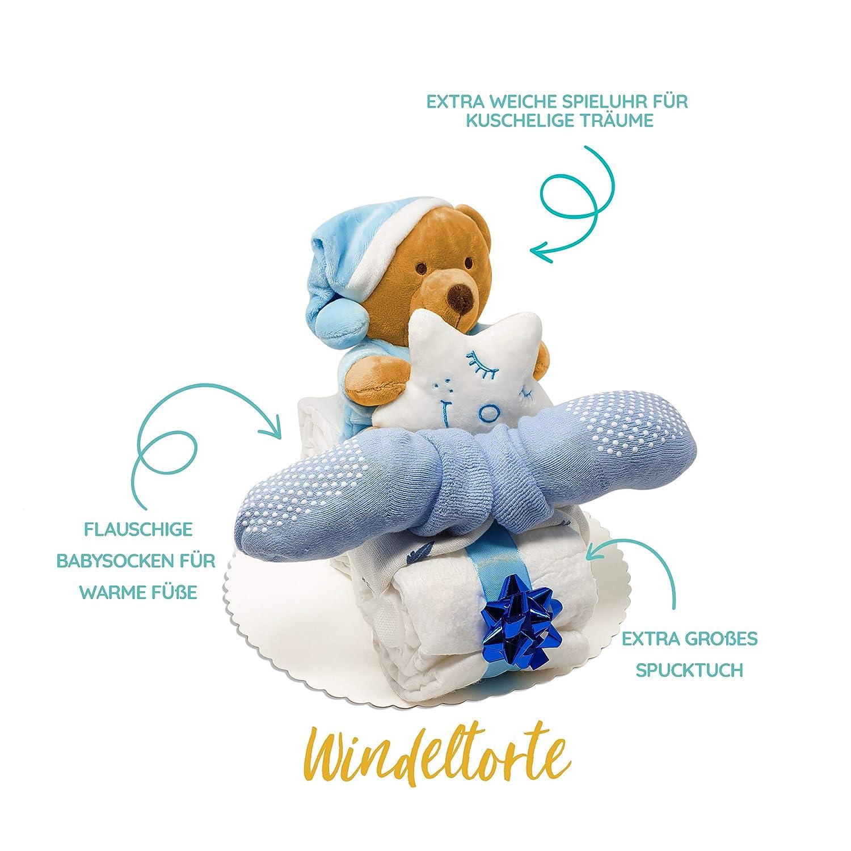 perfekt als Geschenk f/ür Junge oder M/ädchen als Windelmotorrad zur Baby-Party oder Geburt Handmade fair hergestellt Windeltorte Motorrad in Blau oder Rosa mit Teddy-Spieluhr von Homery