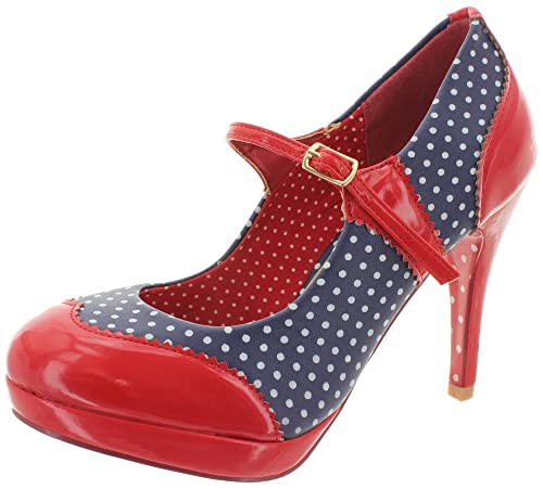 Dancing Days by Banned Riemchen Pumps MARY JANE BND008 Navy-Red