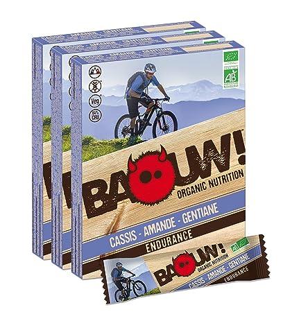 Baouw Organic Nutrition-GROSELLA NEGRA ALMENDRA GENCIANA-Barritas nutritivas y energéticas 100% ecológicas para el deporte o como snack ...