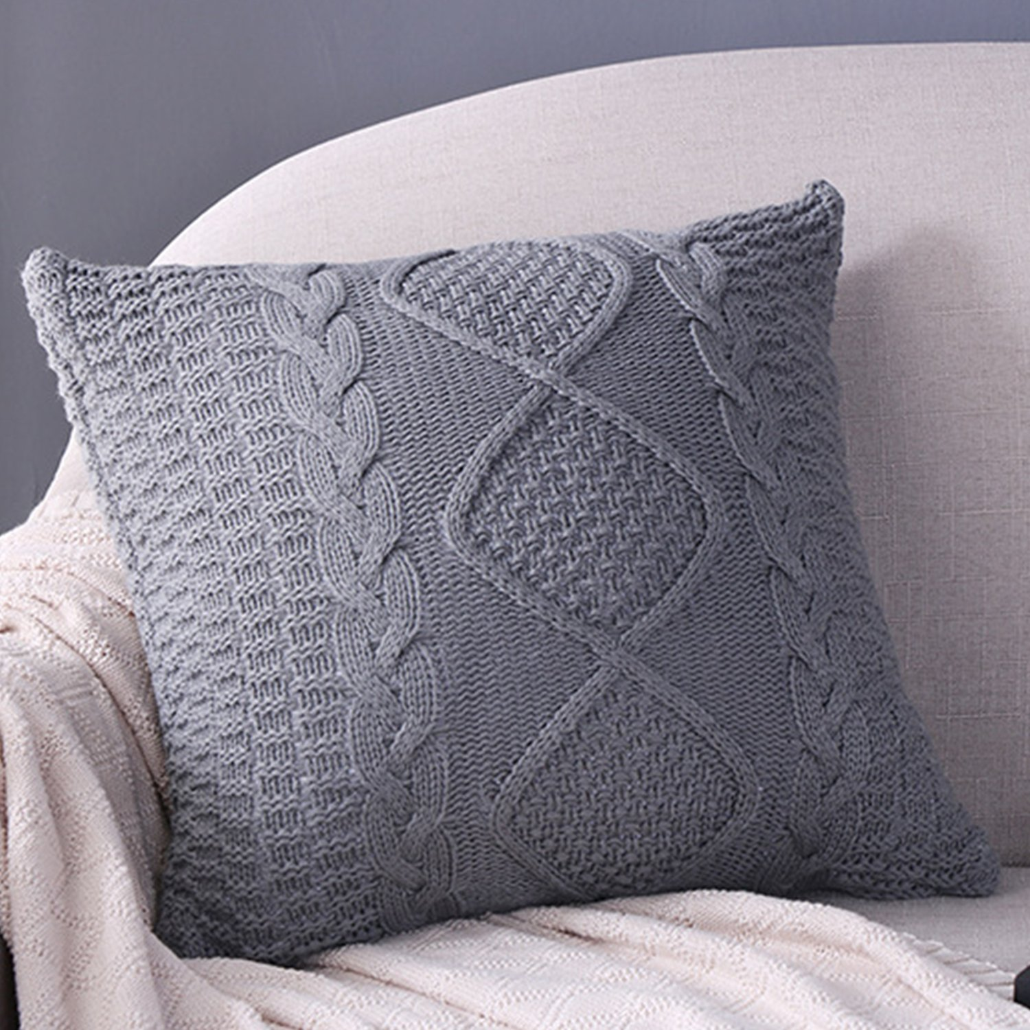 Awe Inspiring Fashion Cotton Cable Knit Pillow Cushion Double Side Knitted Throw Pillow Cover For Counch Bed Car Decoration Gray Theyellowbook Wood Chair Design Ideas Theyellowbookinfo