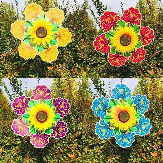 Forgun Wind Spinner Girasol Molino de Viento Juguetes de Flores Coloridas decoración de jardín Pinwheel niños Juguetes Regalos al Aire Libre Juegos Adornos: Amazon.es: Jardín