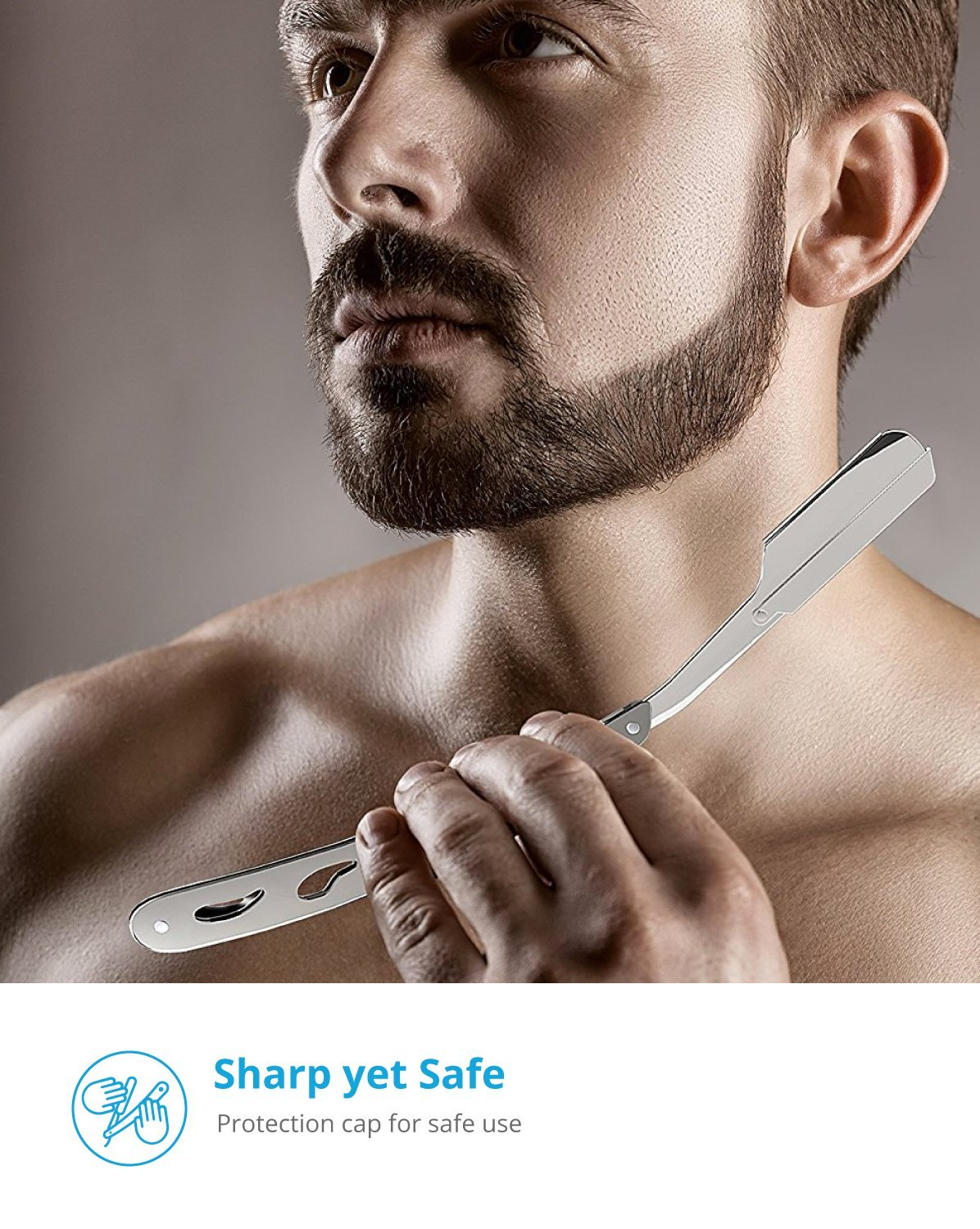 Equinox Professional Straight Edge Razor with 100 Single Edge Derby Blades - Close Shaving Men's Manual Shaver Safety by Equinox International (Image #7)