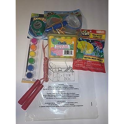 Children's Outdoor Fun Bundle Featuring Sidewalk Chalk, YoYo, Jump Rope, Water Balloons, Paint Kit w/ Brush, & Bug Catching Kit – (6 Items): Toys & Games
