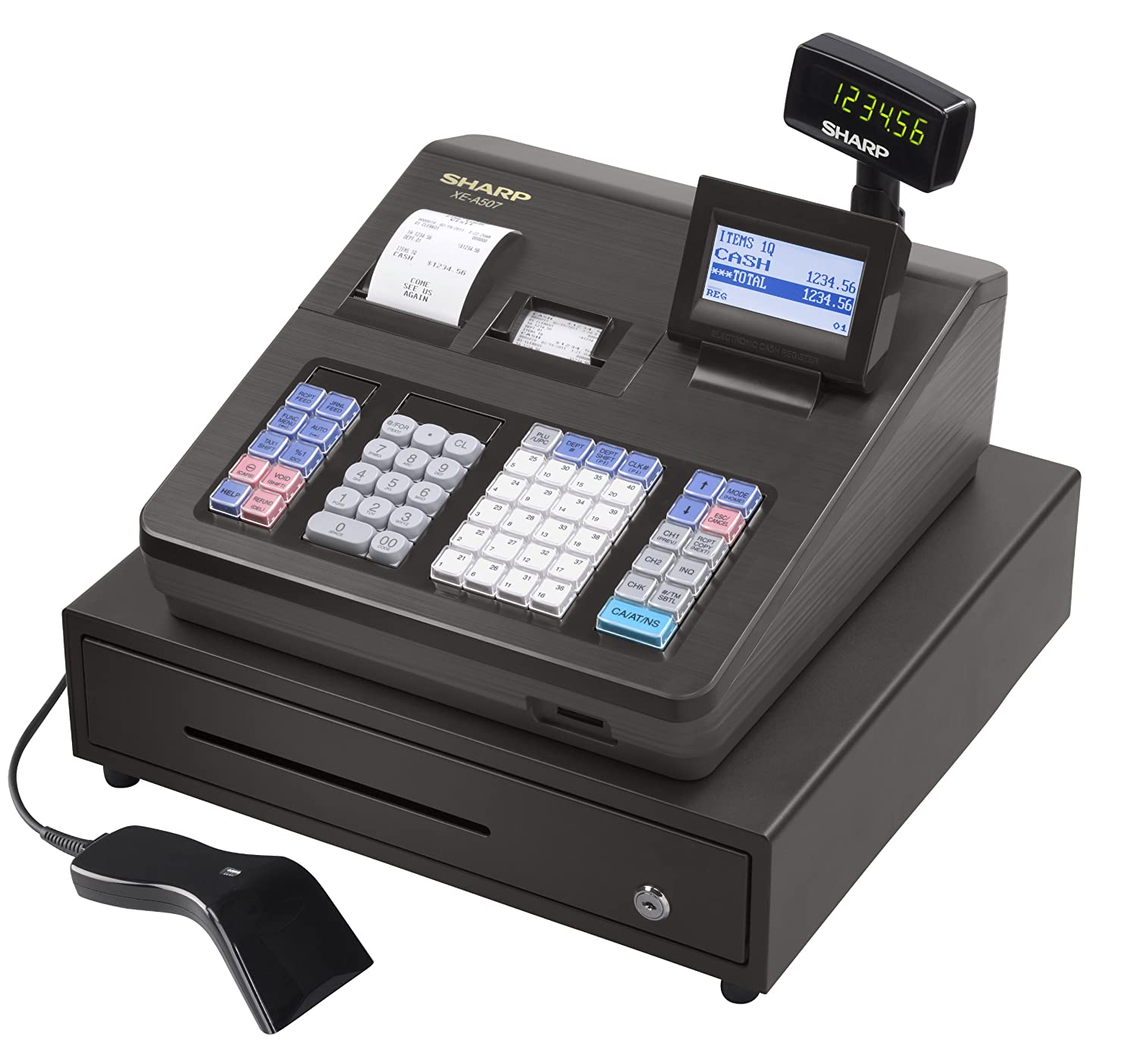 sharp xea507 bar code scanning and dual receipt cash
