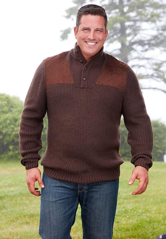 Boulder Creek Mens Big /& Tall Mock Neck Shooter Sweater