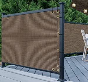 TANG 3' x 50' Brown Residential Commercial Privacy Deck Fence Screen 200 GSM Weather Resistant Outdoor Protection Fencing Net for Balcony Verandah Porch Patio Pool Backyard Rails