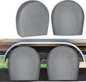 RVMasking Tire Covers for RV Wheel Set of 4 Upgraded 5-ply Motorhome Wheel Covers, Waterproof UV Coating Tire Protectors for Trailer Truck Camper Auto, Fits Tire Diameters 32