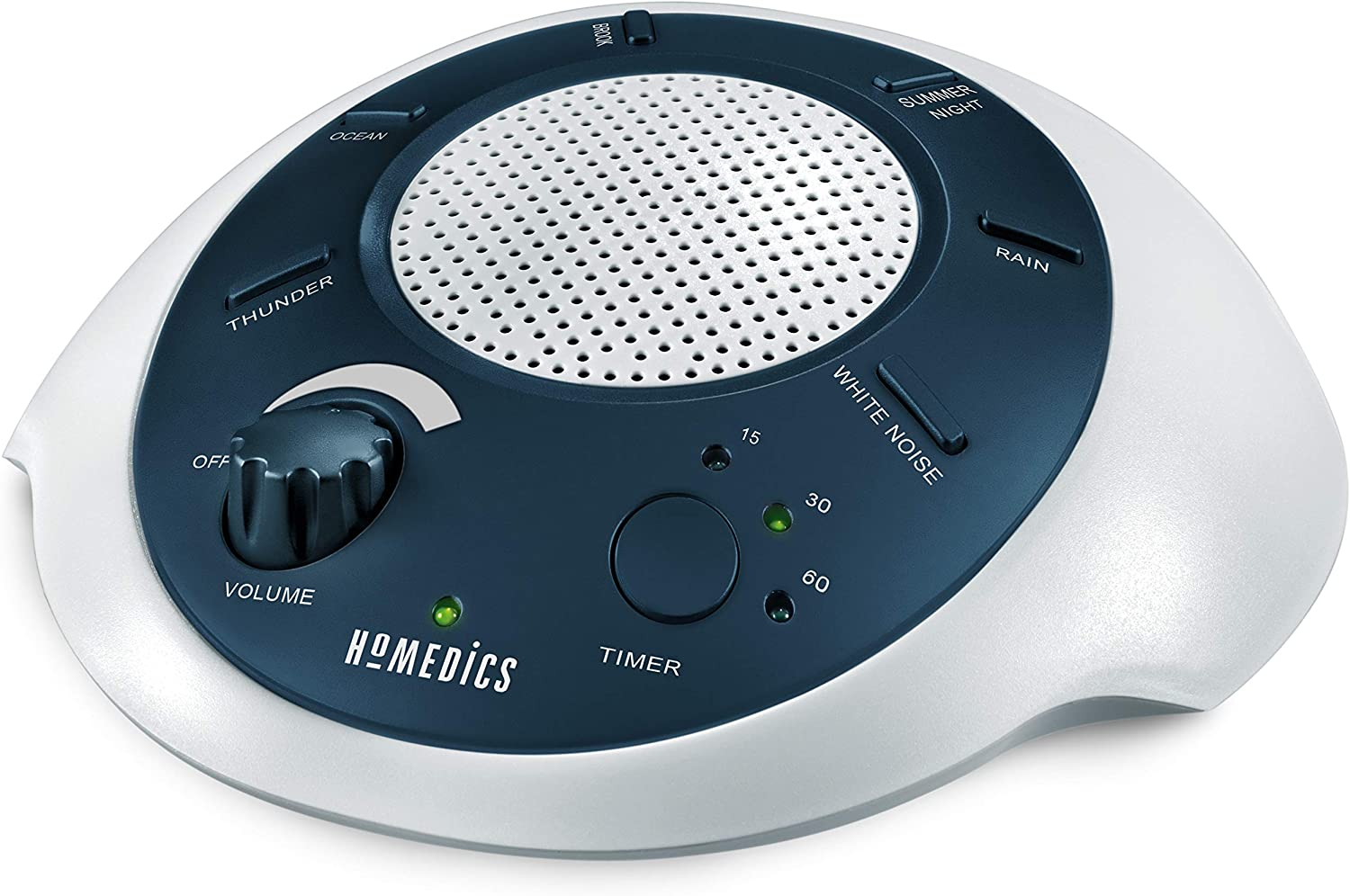 HoMedics White Noise Sound Machine | Portable Sleep Therapy for Home, Office, Baby & Travel | 6 Relaxing & Soothing Nature Sounds, Battery or Adapter Charging Options, Auto-Off Timer | Sound Spa Blue