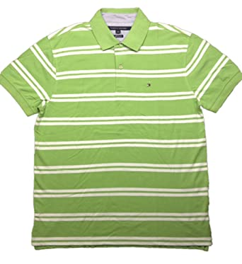 363ae773 Tommy Hilfiger Mens Classic Fit Striped Cotton Polo Shirt Large Green White