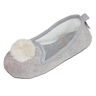 Pretty You London Women's Quilted Ballerina Slipper with Pom Pom:  Amazon.co.uk: Shoes & Bags