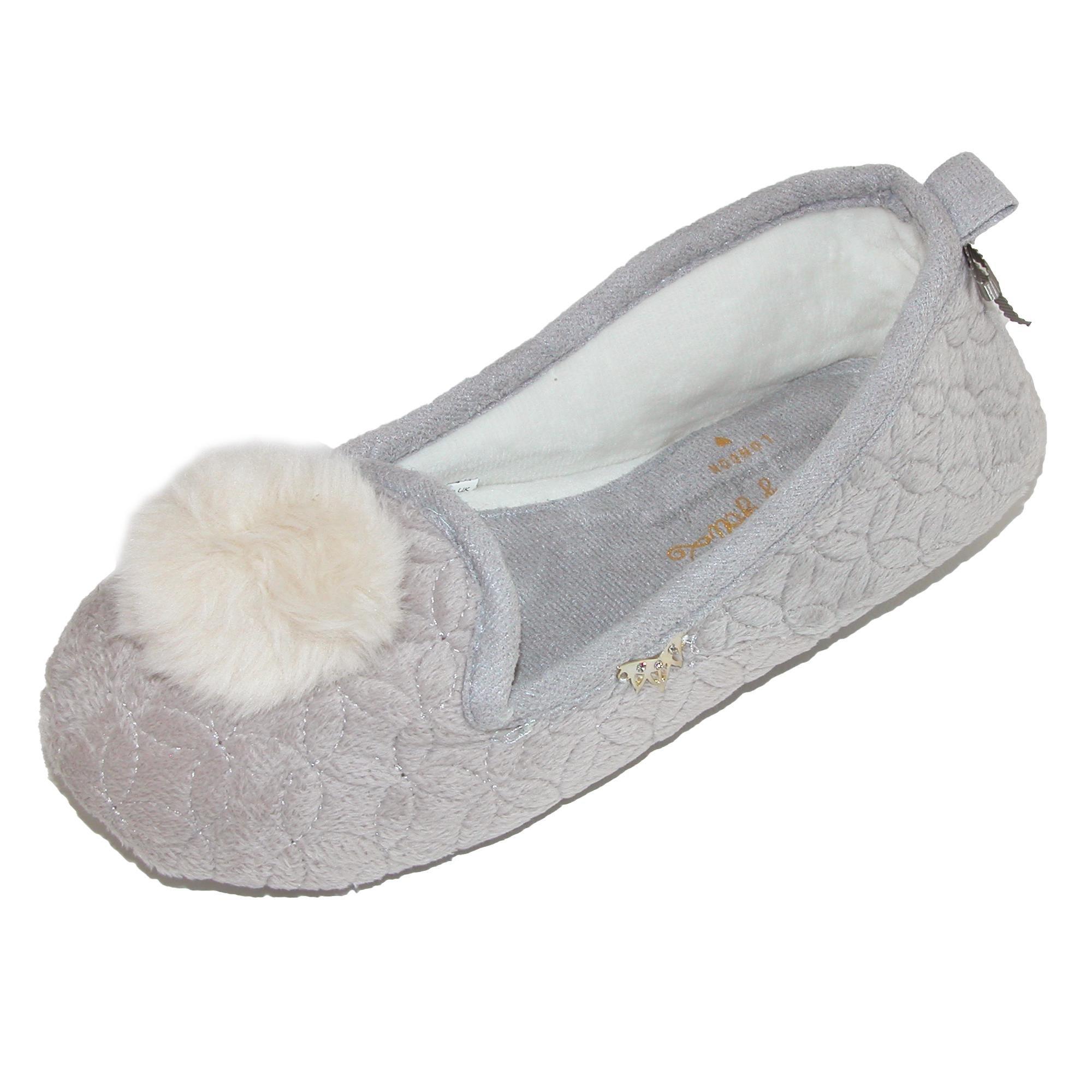 Pretty You London Women's Footwear Ballerina Pom Pom Slippers - Meryl Mocha (Large (US 8-9))